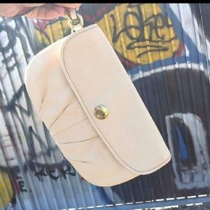 COACH Leather Cream Wristlet